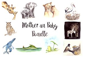 Watercolor Mother & Baby Bundle