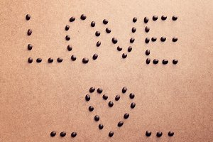 love and heart from coffee beans