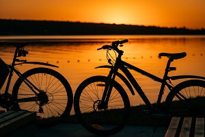 bicycle on the background of a sunse
