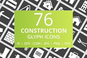 76 Construction Glyph Inverted Icons