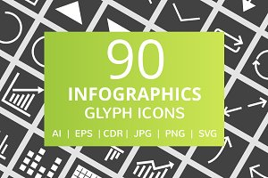 90 Infographics Glyph Inverted Icons