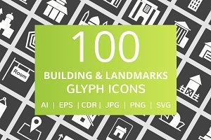 100 Building & Landmarks Glyph Icons