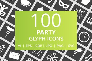 100 Party Glyph Inverted Icons