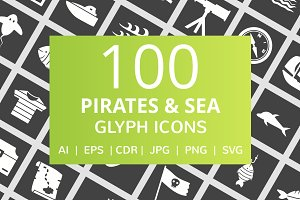 100 Pirate & Sea Glyph Icons
