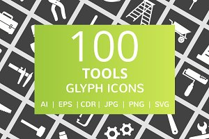 100 Tools Glyph Inverted Icons