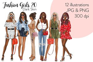 Fashion Girls 20 - Dark skin Clipart