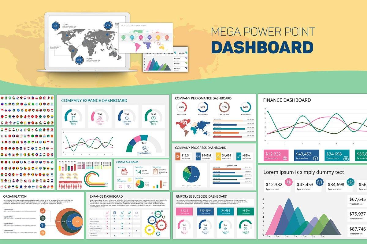 Mega PowerPoint Dashboard Creator from creative market
