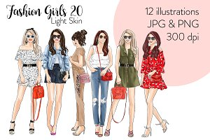 Fashion Girls 20 -Light Skin Clipart