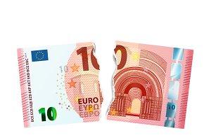 Dummy of torn ten euro banknote
