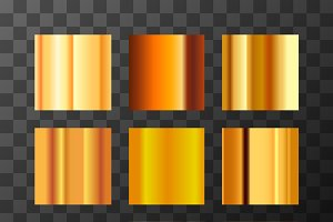Nine different gold metal gradients