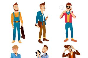 Colorful Hipster Characters Set
