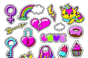 Colorful Girl Fashion Patches Set