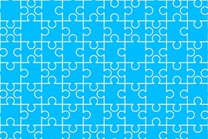 White puzzles pieces on blue
