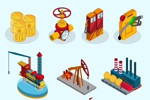 Isometric Oil Industry Elements Set