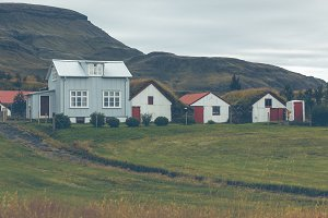 White Siding Icelandic Houses