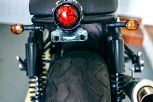Back view of customized motorcycle