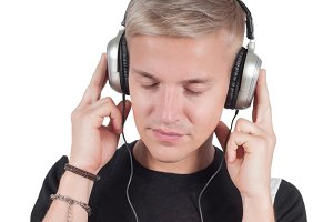 Man in headphones lissening music