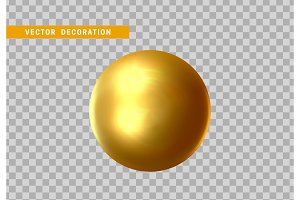 3D sphere golden color