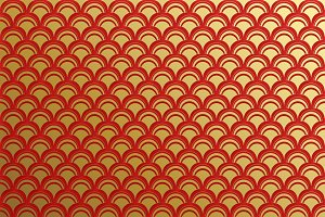 Red golden clouds pattern seamless.