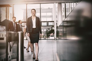 Businesswoman walking in office