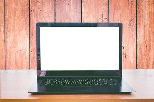 Open laptop on office desk