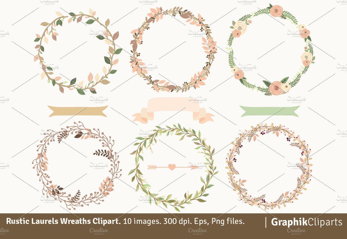 Rustic Laurel Wreaths Illustrations Creative Market