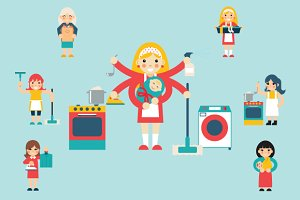 Housewife Characters Icon Set