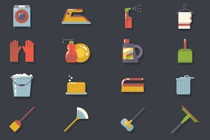 Retro Household Cleaning Icons Set
