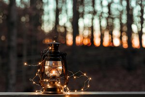 Old style lantern with lights