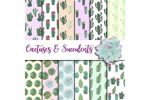 Watercolor Cactuses Digital Paper