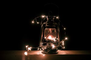 Vintage retro lantern with lights
