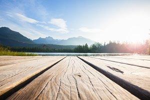 Alpine mountain lake sunny morning