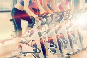 Composite image of spinning class