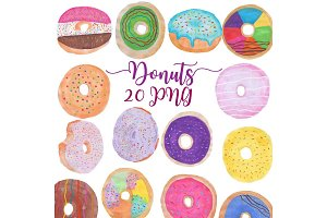 Hand Drawn Watercolor Donuts Clipart