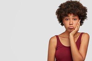 Upset beautiful African American fem