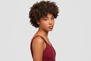 Profile shot of beautiful charming y