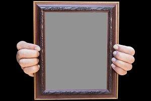 Wooden photo frame on black