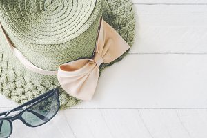 Summer hat with sunglasses
