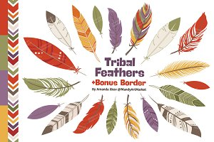 Autumn Tribal Feathers Clipart