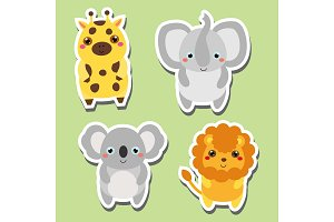 Cute animals. Giraffe, koala, lion
