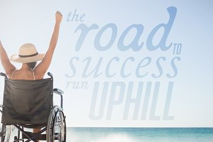 Composite image woman in wheelchair