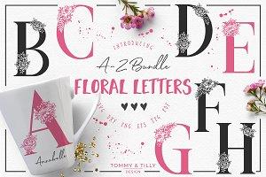 A-Z Floral Letters -Cut File Clipart
