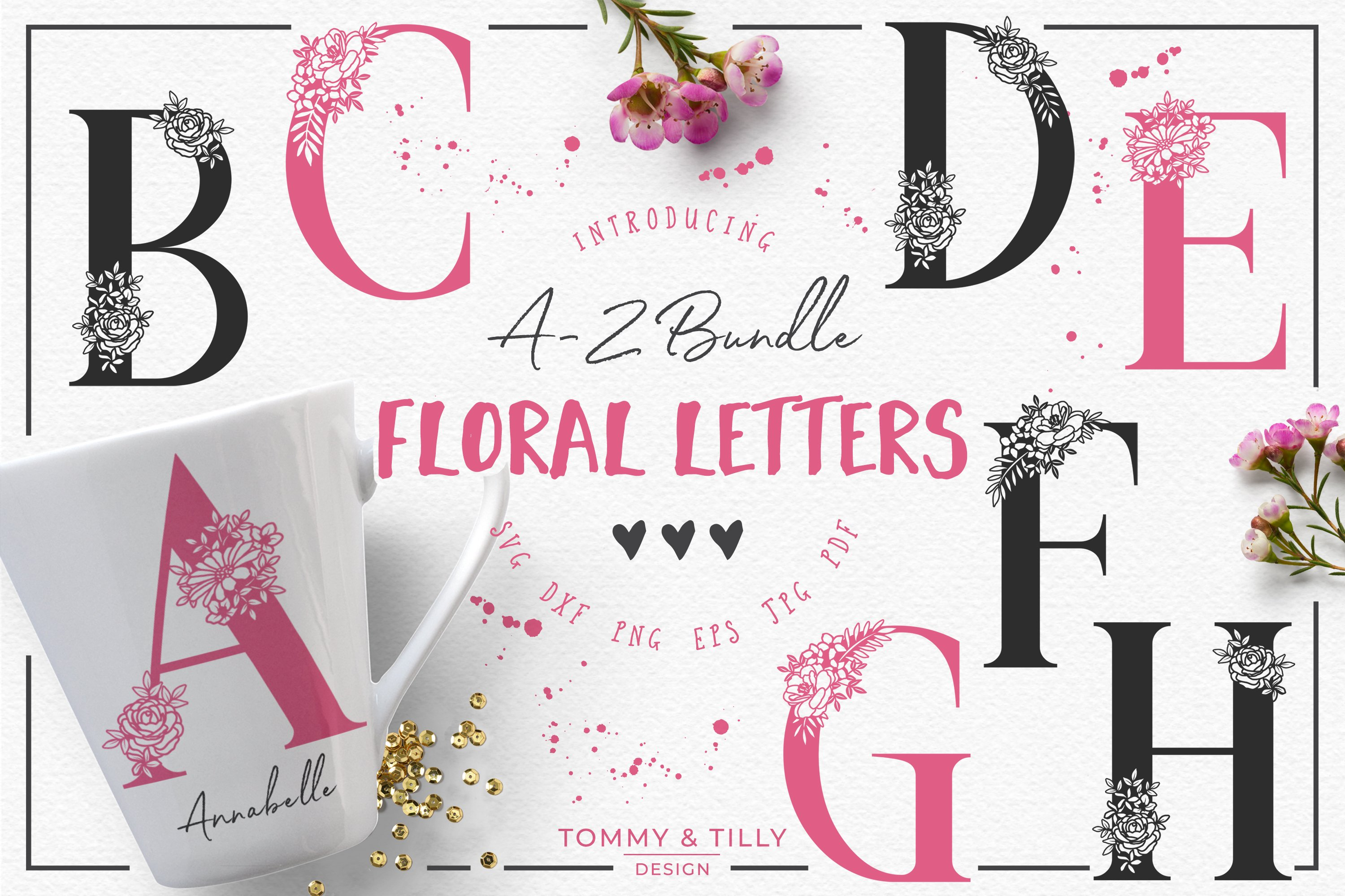 A-Z Floral Letters -Cut File Clipart ~ Graphic Objects