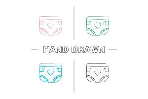 Baby diaper hand drawn icons set