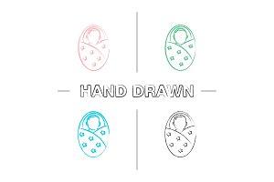 Swaddled baby hand drawn icons set