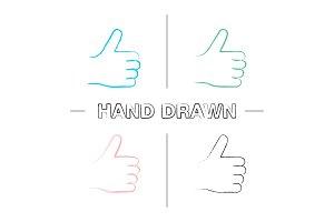 Thumbs up hand drawn icons set