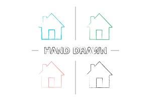 Homepage hand drawn icons set
