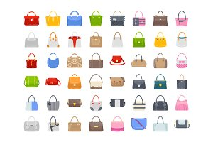 48 Ladies Handbags Flat Icons
