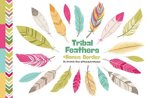 Bohemian Feathers Clipart & Vectors