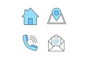 Information center color icons set